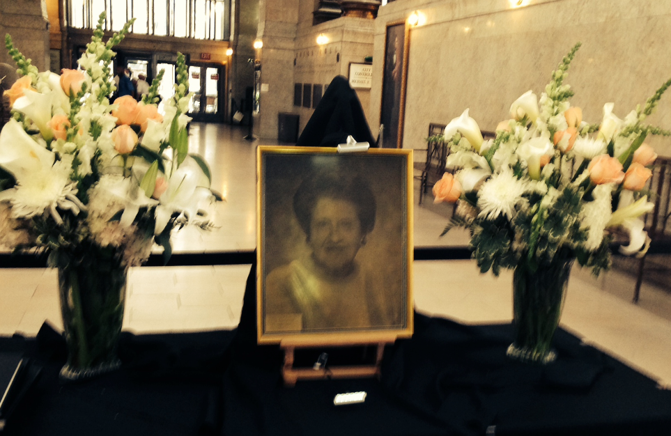 This memorial to former Mayor Sophie Maslov was erected in the lobby of the City County Building today.
